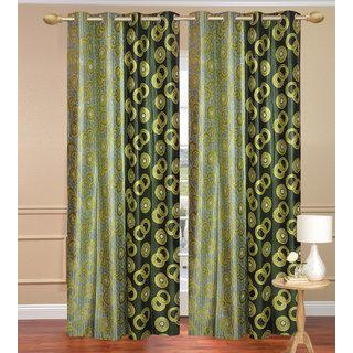 Namo Circle Design Green Window set of 2 pcs (4x5 feet) - Eyelet Polyester Curtain-Purav Light