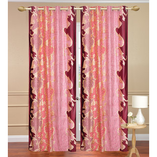 Namo Red Long Door set of 2 pcs (4x9 feet) - Eyelet Polyester Curtain-Purav Light