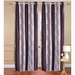 Chiner Patta Brown Window set of 2 pcs (4x5 feet) - Eyelet Polyester Curtain-Purav Light