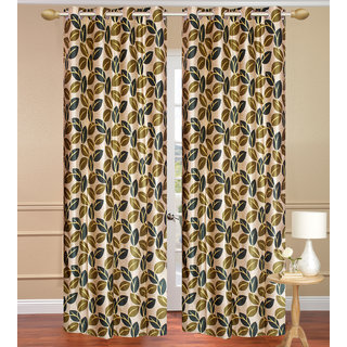 Pinat Path Green Door set of 2 pcs (4x7 feet) - Eyelet Polyester Curtain-Purav Light