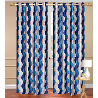 Lehar Blue Window set of 2 pcs (4x5 feet) - Eyelet Polyester Curtain-Purav Light