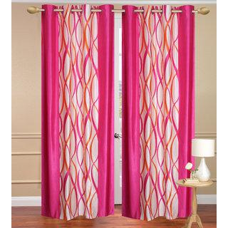 Pink Long Door set of 2 pcs (4x9 feet) - Eyelet Polyester Curtain-Purav Light