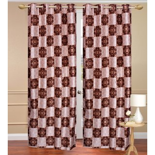 Brown Long Door set of 2 pcs (4x9 feet) - Eyelet Polyester Curtain-Purav Light