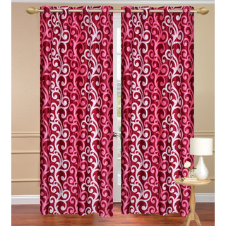 Red Window set of 2 pcs (4x5 feet) - Eyelet Polyester Curtain-Purav Light