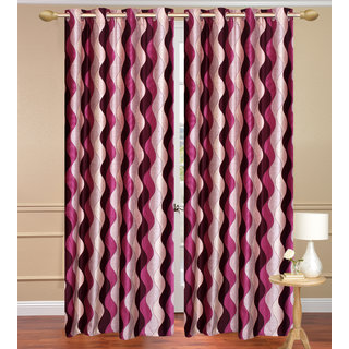 Lehar Red Window set of 2 pcs (4x5 feet) - Eyelet Polyester Curtain-Purav Light