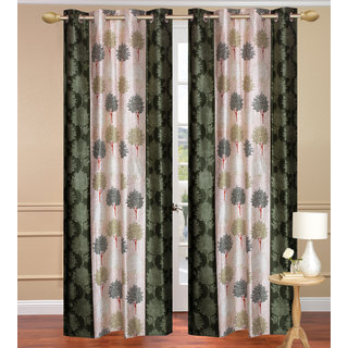 Green Long Door set of 2 pcs (4x9 feet) - Eyelet Polyester Curtain-Purav Light