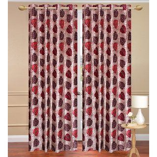 Red Window set of 2 pcs (4x5 feet) - Eyelet Polyester Curtain-Purav Light