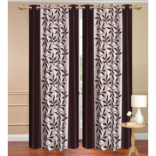 Brown Window set of 2 pcs (4x5 feet) - Eyelet Polyester Curtain-Purav Light