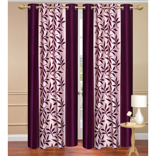 Purple Window set of 2 pcs (4x5 feet) - Eyelet Polyester Curtain-Purav Light