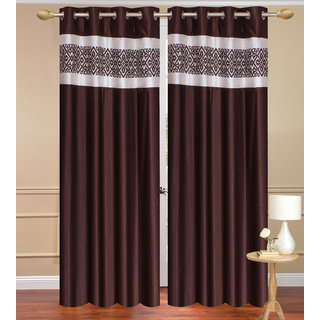 Plain Brown Door set of 2 pcs (4x7 feet) - Eyelet Polyester Curtain-Purav Light
