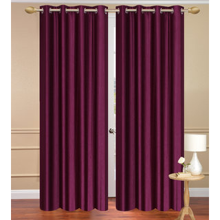 Solid Plain Purple Window set of 2 pcs (4x5 feet) - Eyelet Polyester Curtain-Purav Light
