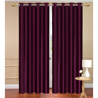 Solid Plain Purple Door set of 2 pcs (4x7 feet) - Eyelet Polyester Curtain-Purav Light