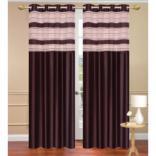 Cursh Brown Door set of 2 pcs (4x7 feet) - Eyelet Polyester Curtain-Purav Light