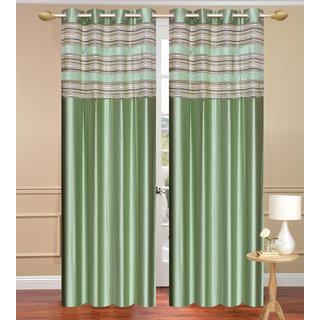 Cursh Green Door set of 2 pcs (4x7 feet) - Eyelet Polyester Curtain-Purav Light