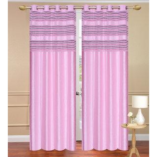 Cursh Pink Window set of 2 pcs (4x5 feet) - Eyelet Polyester Curtain-Purav Light