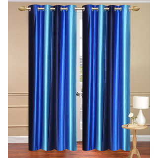 Blue Window set of 2 pcs (4x5 feet) - Eyelet Polyester Curtain-Purav Light