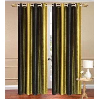 Black Window set of 2 pcs (4x5 feet) - Eyelet Polyester Curtain-Purav Light