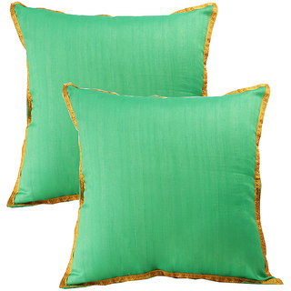 RangDesi Green Silk 16 x 16 Inch Raw Cushion Cover - Set of 2