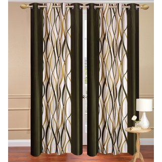 Green Door set of 2 pcs (4x7 feet) - Eyelet Polyester Curtain-Purav Light
