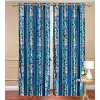 Blue Long Door set of 2 pcs (4x9 feet) - Eyelet Polyester Curtain-Purav Light