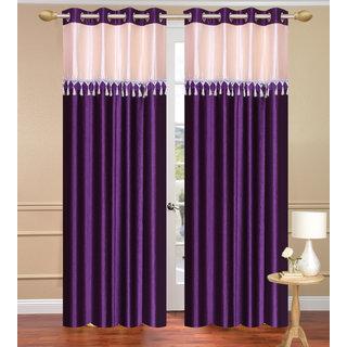 Blue Window set of 2 pcs (4x5 feet) - Eyelet Polyester Curtain-Purav Light