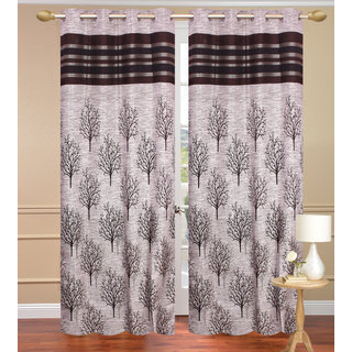 Jute Tree Gray Door set of 2 pcs (4x7 feet) - Eyelet Curtain-Purav Light