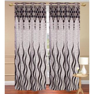 Jute Lehar Gray Door set of 2 pcs (4x7 feet) - Eyelet Curtain-Purav Light