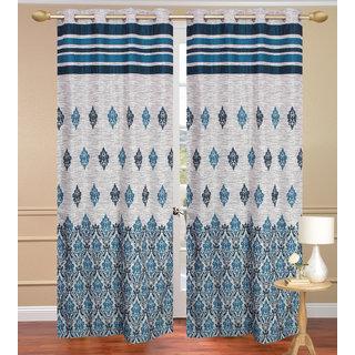 Jute Dhomas Blue Long Door set of 2 pcs (4x9 feet) - Eyelet Curtain-Purav Light
