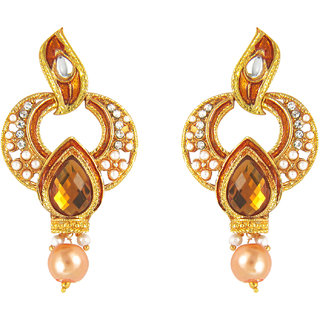 Teardrop Yellow Crystal Traditional Earrings by Parisha with artificial pearl ER7090031