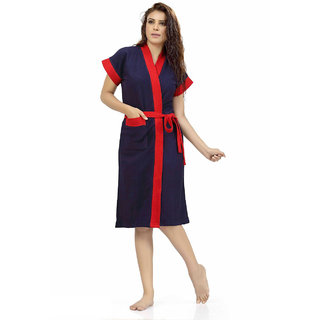 Be You Fashion Double Shaded Navy Blue-Red Cotton Bathrobe