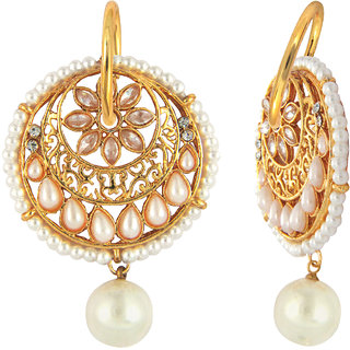 Traditional Gold Plated Floral Round Hoop Earrings by Parisha with Kundan and artificial Pearl ER7090032
