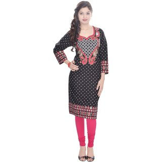 Amer Prints Beautiful Cotton Black Color Kurti