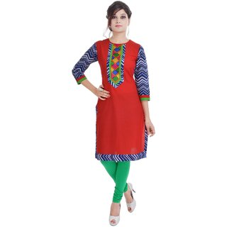 Amer Prints Beautiful Cotton Red Color Kurti