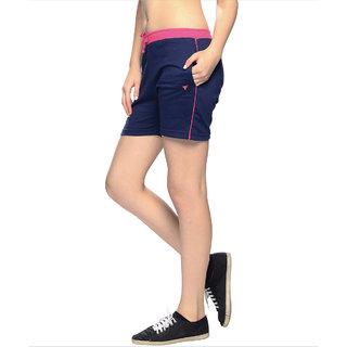Neva Blue Lycra Solid Short For Women