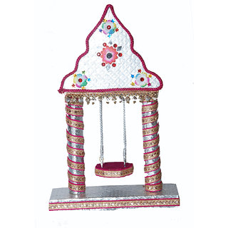 Lutis Jhula beautiful hand made Silver colour Round Piler Swing Midel Size