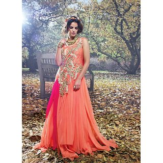 Viva N Diva Peach And Orange Colored Net And Brasso Net Gown.
