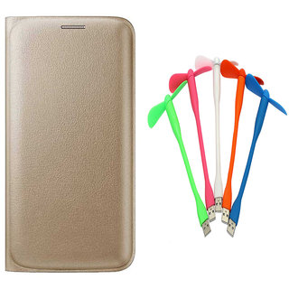 Snaptic Limited Edition Golden Leather Flip Cover for Moto G4 Play with USB Fan