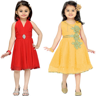 Aarika Girls Self Design Party Wear  Birthday Special Frock Combo of 2