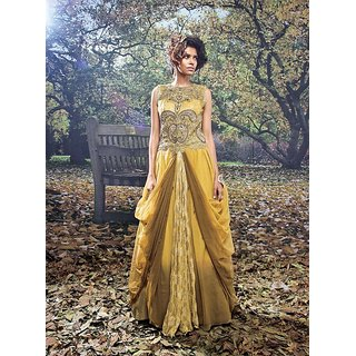 Viva N Diva Mustard Colored Net And Bracade Gown.