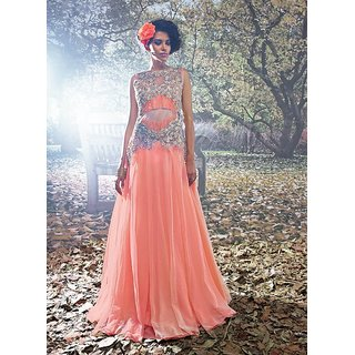 Viva N Diva Pink And Peach Colored Net Gown.