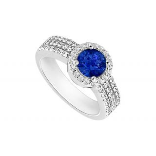 Alluring Sapphire And Diamond Halo Engagement Ring With 14K White Gold Design 2