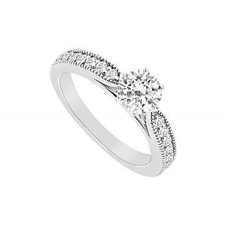 Appealing Diamond Engagement Ring With 14K White Gold Design 2