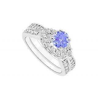 Angelic Tanzanite And Diamond Engagement Ring With Wedding Band Set With 14K White Gold