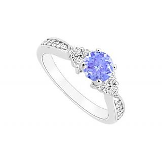 Angelic Tanzanite And Diamond Engagement Ring With 14K White Gold Design 2