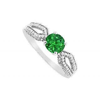 Admirable Emerald And Diamond Engagement Ring With 14K White Gold Design 2