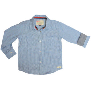 100 Cotton Light Blue Hounds Tooth Check F/S Shirts With Front Two Pocket