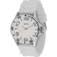 MARCO Analog White Leather Watch For Men