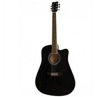 Pluto HW39C-201 Medium Cutaway Acoustic Guitar, Black