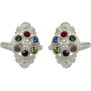 Raj Multicolor Silver Plated Cz Colour Spark Jaipuri Work Zircon Toe Ring