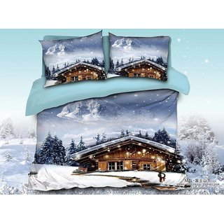 Belomoda 5D Snowfall Theme Printed Queen Size BedSheet With 2 Pillow Covers